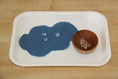 counting rain drops.Clear Beads, Counting Raindrop, Fine Motors, Counting Coconut, Preschool Clouds Theme, Clouds Rain, Weather Math Preschool, Weather United, Rain Drop