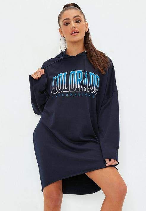 2d8debbc0fa8dc Navy Colorado Pull String Long Sleeve Hoodie Dress  blue logo colorado