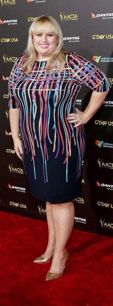 Rebel Wilson made a splash in graphic-print dress.