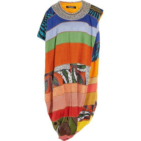 Junya Watanabe Chain-embellished patchwork linen-blend jersey dress (44,255 THB) ❤ liked on Polyvore featuring dresses, orange, jersey wrap dress, african dresses, asymmetrical hem dress, draped dress and orange dress