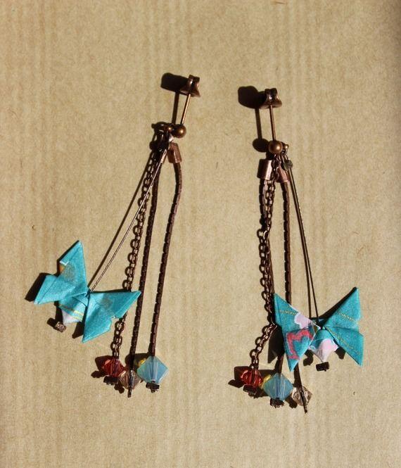 Boucles d'oreilles petits papillons origami