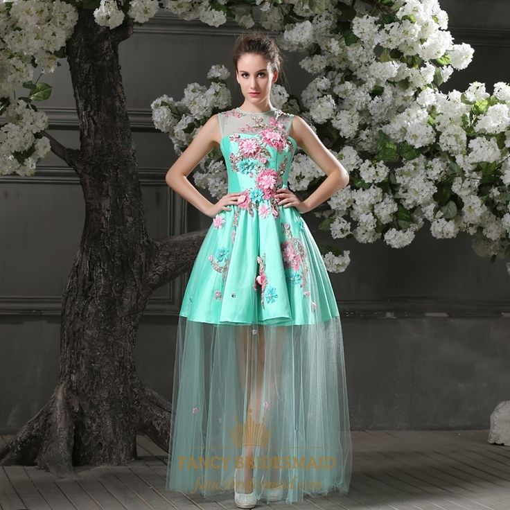 FancyBridesmaid.com Offers High Quality Elegant Aqua Blue Short Mini Bridesmaid Gowns Floral A-line Scoop Lace Satin Evening Dresses,Priced At Only USD USD $162.00 (Free Shipping)