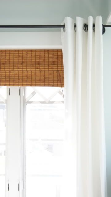 i love the look of these bamboo shades with the grommet style white curtains very
