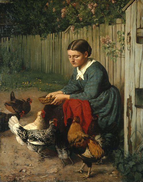 1870Hans Thoma (German; 1839-1924) ~ 'Mädchen beim Hünerfüttern'