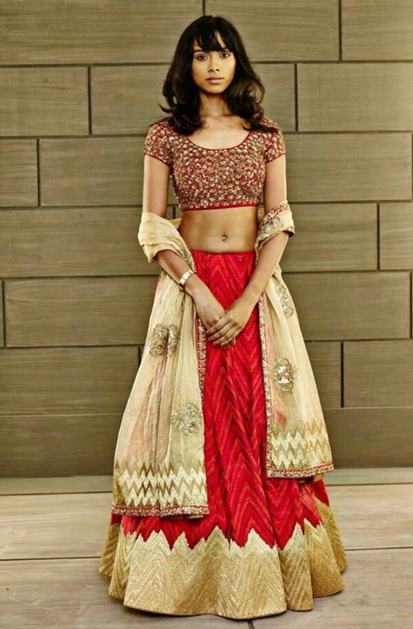 Red and gold Indian wedding lehenga