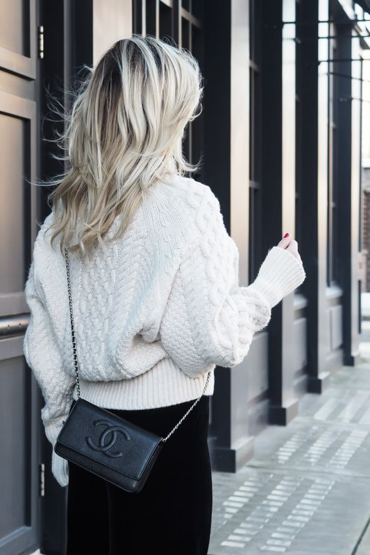 Zara knitted jumper, velvet trousers and a Chanel WOC