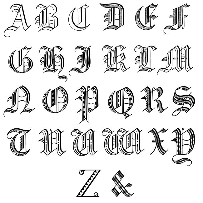 Old english calligraphy alphabet fancy