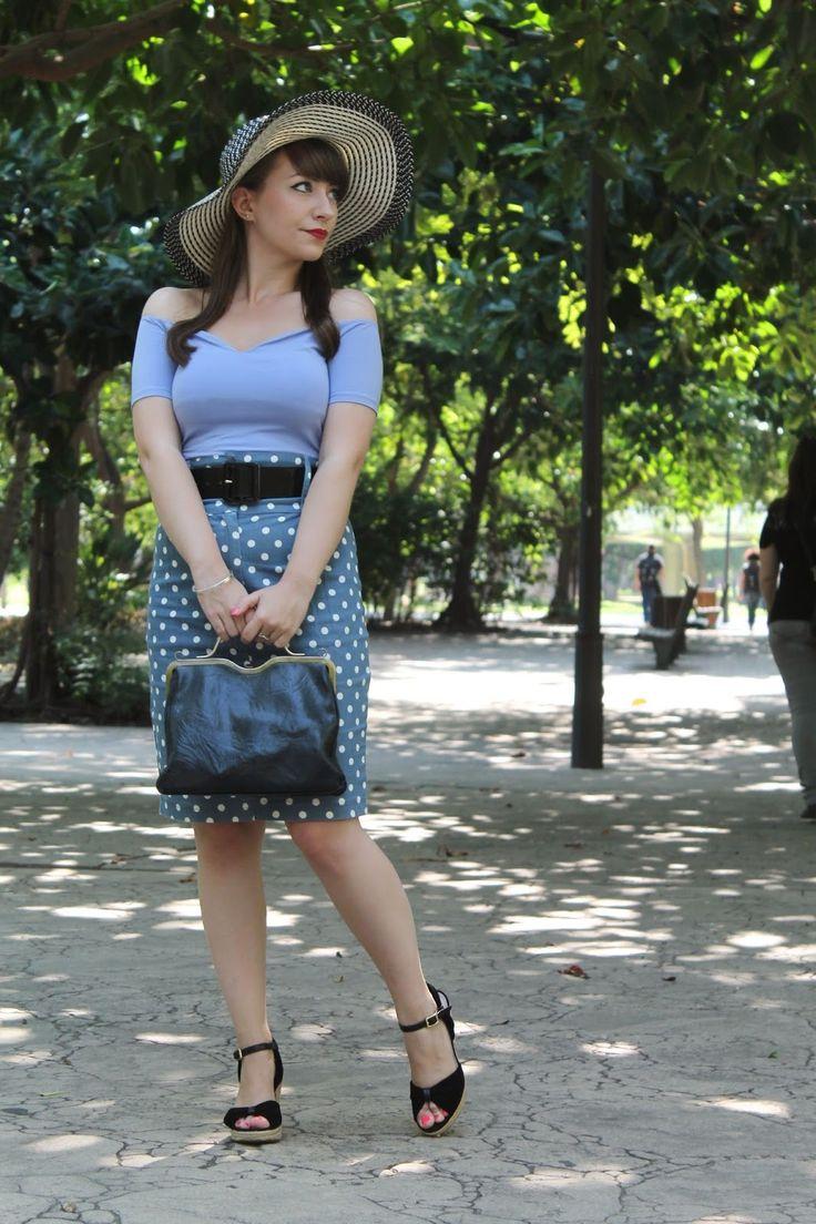 Floppy sunhat, bardot top, polka dot pencil skirt