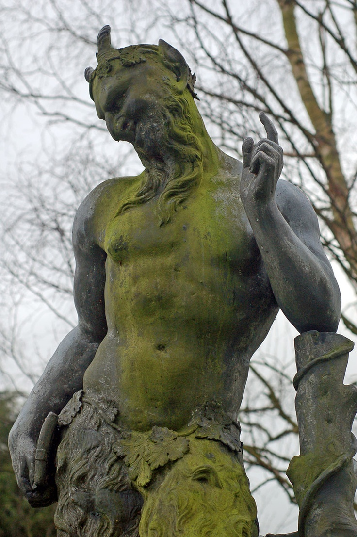 Pan statue on the grounds of Chatsworth House, in North Derbyshire, England.