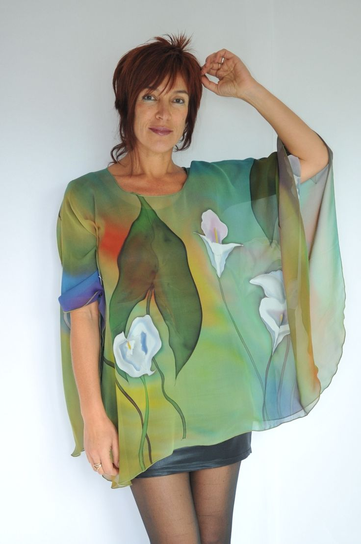 Hand Painted Silk Poncho; WHY is this here???? I think this may be inspiration for a fiber quilt...just maybe...what do you think?
