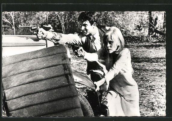 schöne AK Bonny und Clyde, Filmszene mit Warren Beatty und Faye Dunaway in Sammeln & Seltenes, Ansichtskarten, Motive | eBay