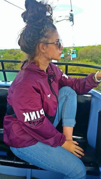 jacket victoria's secret pink windbreaker burgundy victoria secret jacket…                                                                                                                                                                                 More