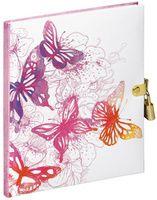 Tagebuch mit Schloss 128 Seiten Pink Butterfly by Varvara Gorbash