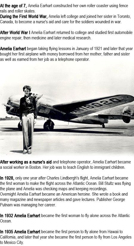 Amelia Earhart facts for kids http://firstchildhoodeducation.blogspot.com/2013/09/amelia-earhart-facts-for-kids.html