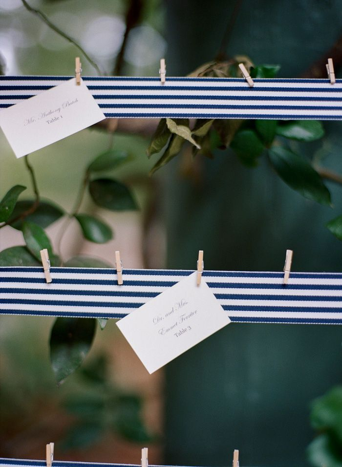 blue striped ribbon used to display escort cards