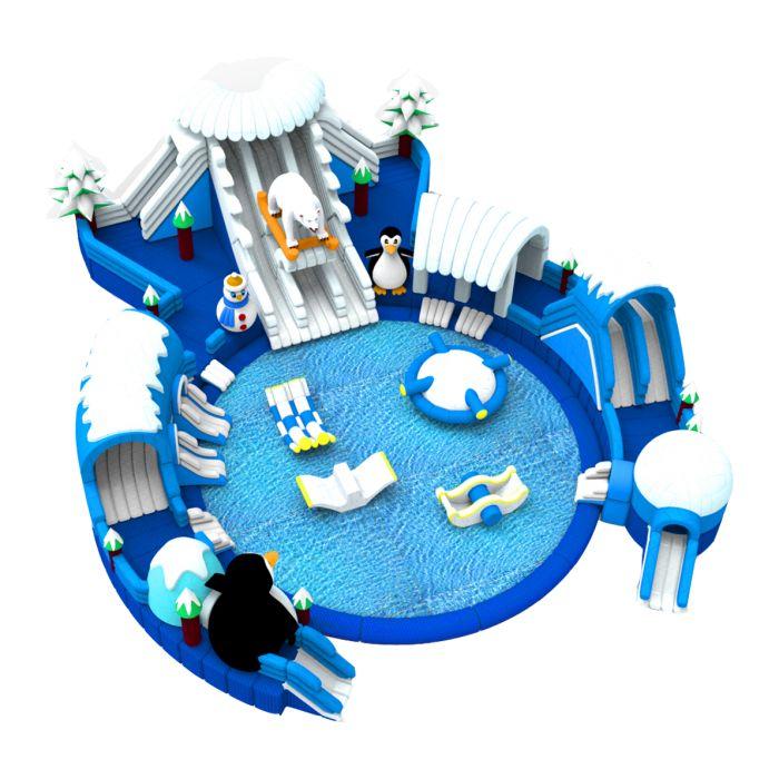 Название: Батут с бассейном «Северный полюс» Категория: Надувные аттракционы Источник: http://batutmaster.ru/product/batut-s-bassejjnom-severnyjj-polyus Описание:   Жаркое лето, море, пляж и белый медведь – разве так бывает? Конечно, нет, но и это стало возможным с ярким батутом в бело-син�