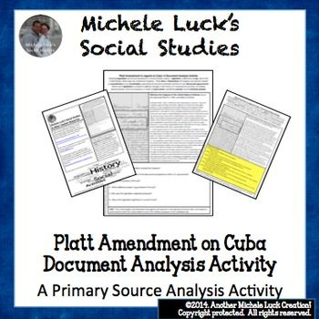 Platt Amendment on Cuba Document Analysis Activity U.S. Im