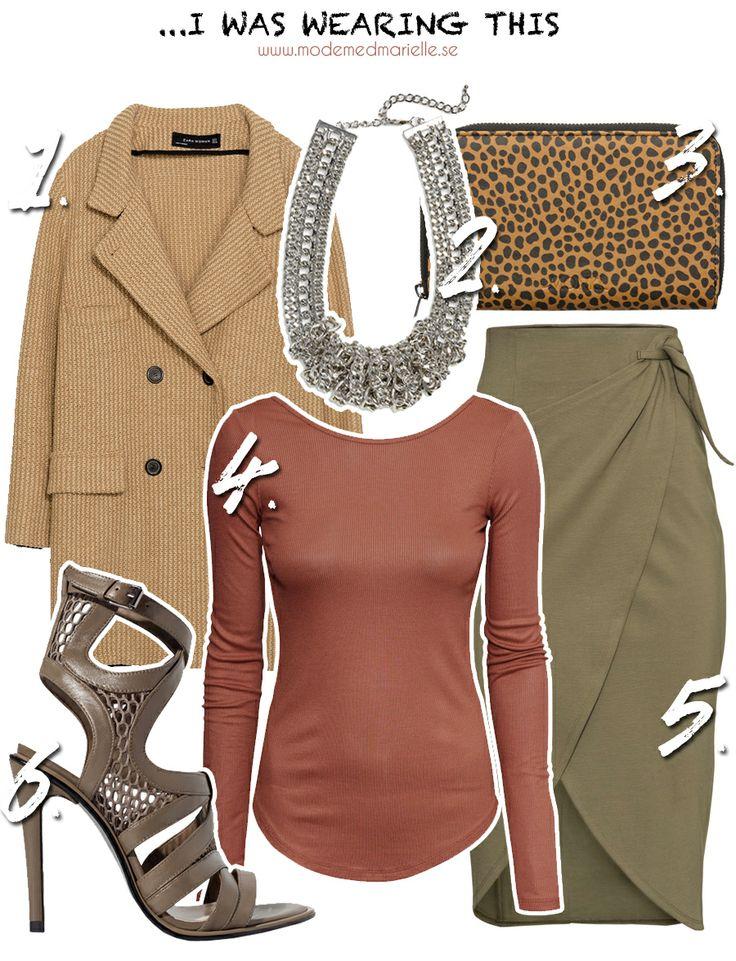 khaki fashion look  Kappa – Zara, 1199 kr // Halsband – Lindex, 149 kr // Plånbok – Monki, 100 kr // Tröja – H&M, 199 kr // Kjol – H&M, 299 kr // Klackar – Zara, 949 kr
