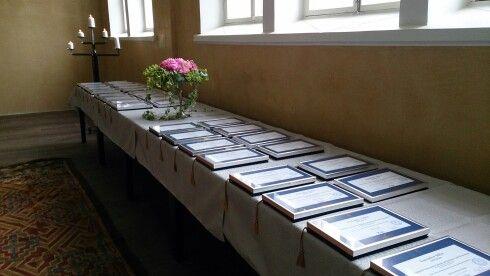 EMBA diplomas ready for celebration.