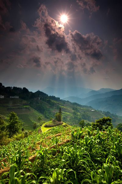 After a heavy rainfall, the sun bursts through the clouds in the area, Yuanyang in southern Yunnan Province in China. #Yuanyang #Clouds #Travel #Agriculture #Beauty