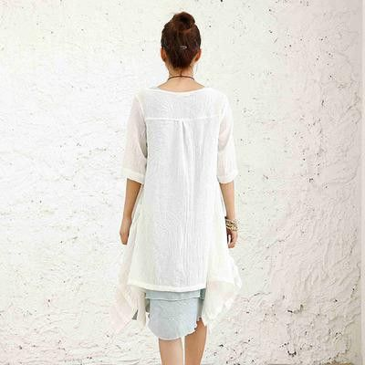 2016 Spring Summer New Half Sleeve Girl Sunscreen Shirt Thin Cotton Linen Plus Size Blouse Women Kimono Lace Blusas Coat