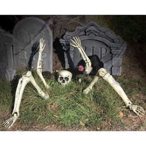 NEW SKELETON PARTS BURIED IN GROUND OUTDOOR HALLOWEEN DECORATION PARTY PROP SET