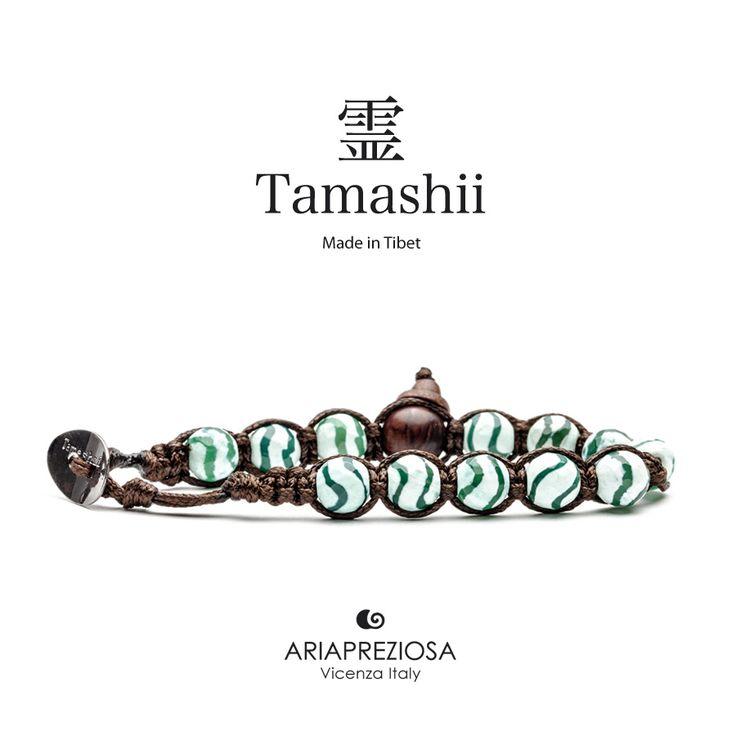 Bracciale originale Tamashii Painted realizzato con pietre naturali AGATA VERDE STRIATA dipinta col. BIANCO.
