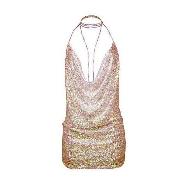 Rotita Sequin Embellished Halter Neck Open Back Club Dress ($25) ❤ liked on Polyvore featuring dresses, pink, sexy dresses, halter top, sequin cocktail dresses, mini dress and sequin halter top
