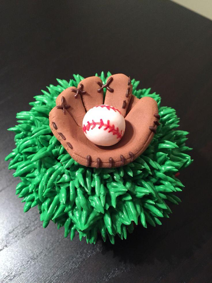 Baseball glove cupcake