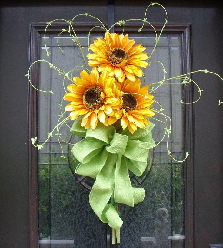 Decorative Wreaths | Spring Wreath, Sunflower Bouquet, Wall Decor, Yellow Sunflower Floral ...