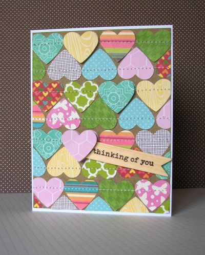 Thinking of You Card by Nicole Nowosad using Jillibean Soup's patterned paper (Southern Chicken Dumpling Soup, Neopolitan Bean Bisque, Apple Cheddar Soup, Sweet Sour Soup) and Thinking of You wood flags (via the Jillibean Soup blog).