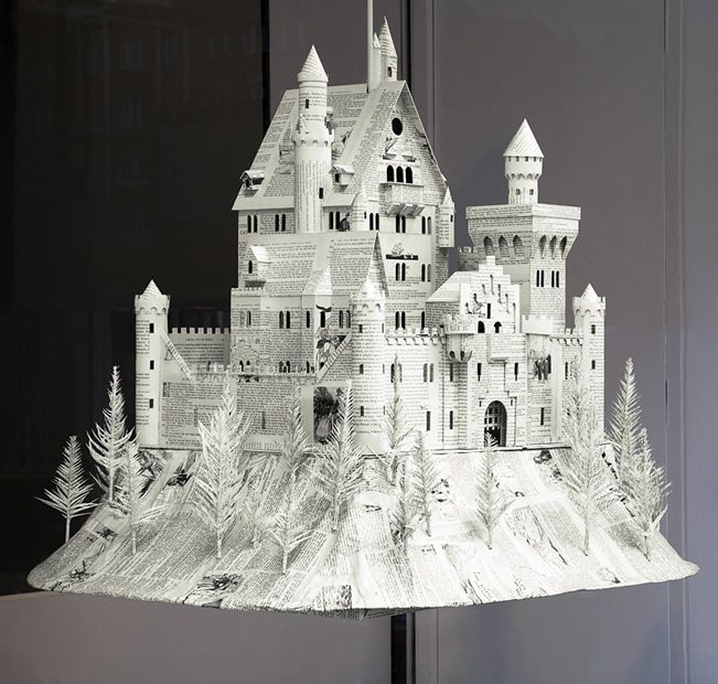 paper cutting castle-made from newspaper