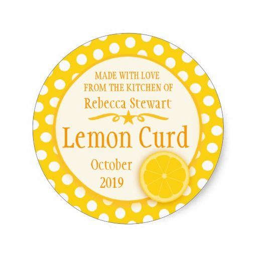 Round lemon curd baking label round stickers. Designed by www.sarahtrett.com