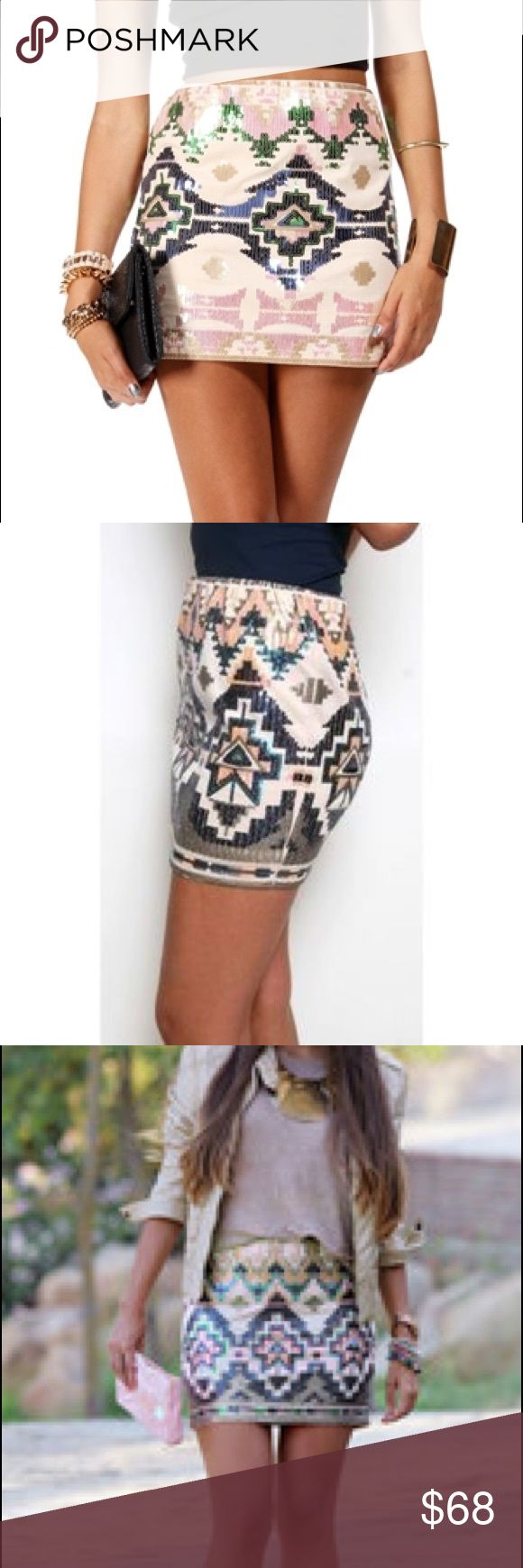 Sequin Aztec tribal mini skirt New without tags express sequin tribal print skirt. A spring/summer time must have!! Bought and never wore!!  Size Xs (I usually wear a 4/6) and this fit me. Has stretch Express Skirts Mini