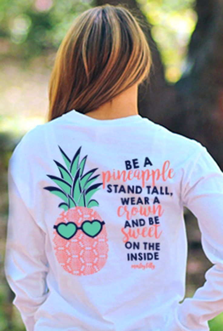 Your favorite pineapple shirt is BACK in long sleeve! Get one personalized for you and your bff now at Marleylilly.com! #monogram #monograms #monogrammed #pineapple #shirt #cute #preppy #outfit #gift #personalized