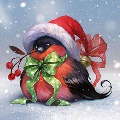 Посмотреть иллюстрацию Валерия Железовская - снегирь. снегирь для себя