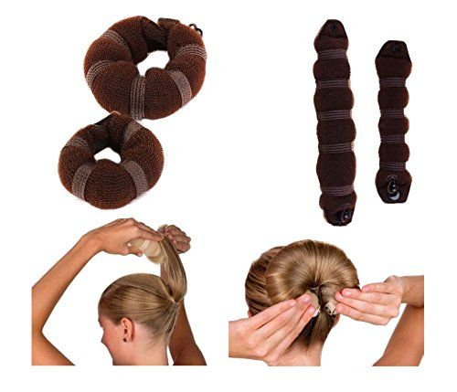 iHome Fusion Beauty Magic Hair Donut Twist Ring Hair Bun Maker With Clip Button 2PCS Small  Large Brown ** Want to know more, click on the image.(This is an Amazon affiliate link and I receive a commission for the sales)