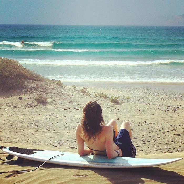 Surfing at Famara Beach, Lanzarote