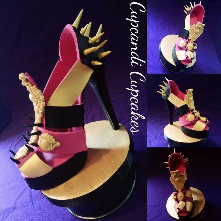 Studs & spikes pink black & gold baroque gumpaste sugar shoe like us www.facebook.com/cupcandicupcake