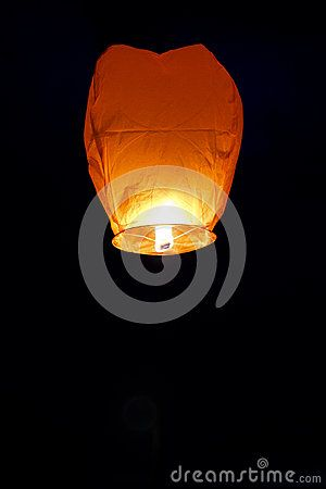 Orange Paper lantern black  background or on night sky