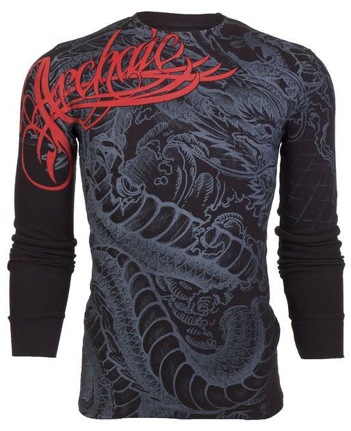 details about archaic affliction mens thermal t shirt dragon rage tattoo biker ufc s 3xl 58. Black Bedroom Furniture Sets. Home Design Ideas