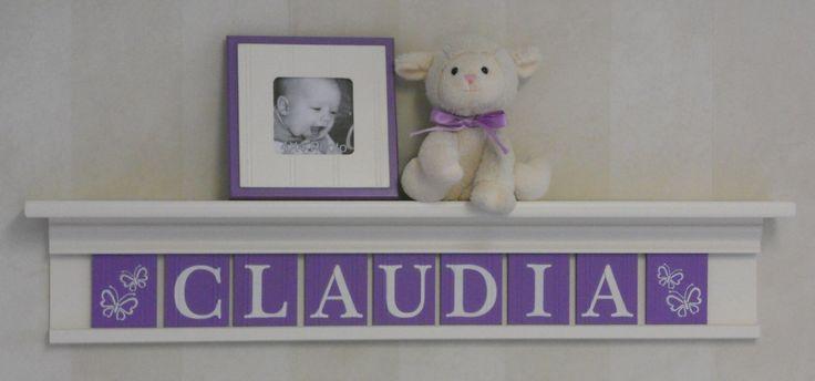 "Purple Butterfly Baby Nursery Wall Shelf - 36"" Linen Off White Shelf - 9 Wooden Wall Letters Lilac CLAUDIA with Butterflies by NelsonsGifts on Etsy"