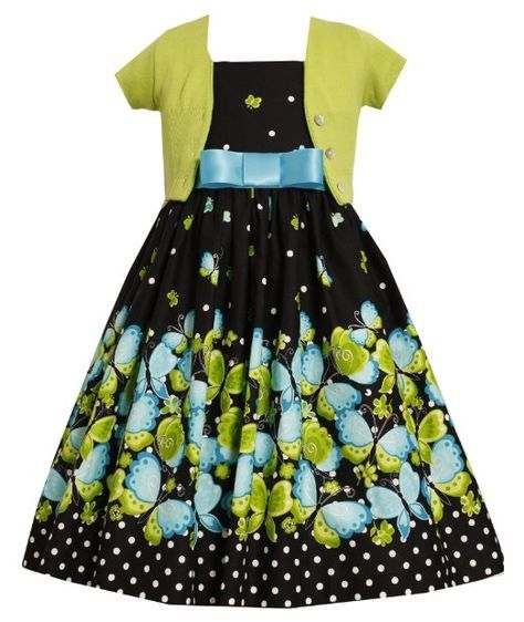 be11d2eee00 Amazon.com: Size-5, Black, BNJ-9375B, Black/Green Butterfly Border Dress-Sweater  Set,Bonnie Jean Little Girls Special Occasion Party Dress: .