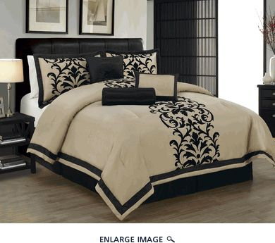 7 Piece Queen Dawson Black And Taupe Comforter Set Lauren Do You Like This For Your Room Christmas Ideas Pinterest Comforters Bedroom Bed