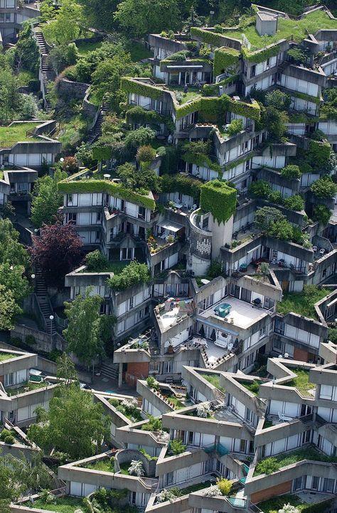 Telhados ecológicos no conjunto habitacional de Jean Renaudie em Ivry sur Seine, França. S   – Futuristische Architektur