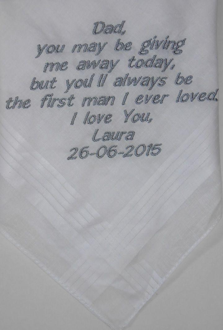 zakdoek huwelijk, bruiloft, wedding. Voor dad grijs geborduurd http://www.bruiloftzakdoekje.nl