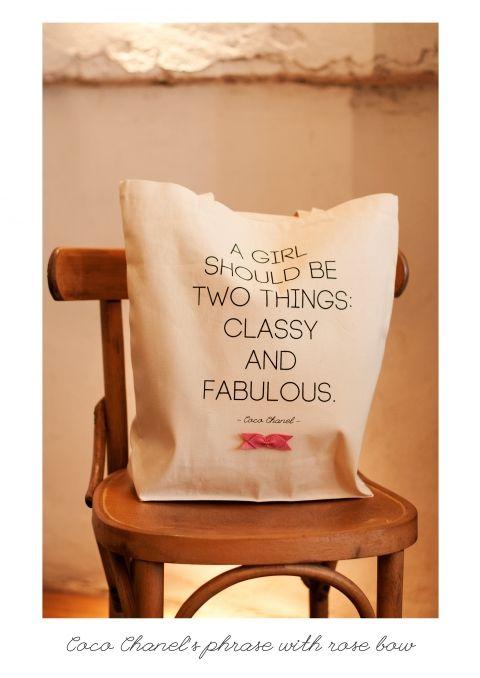 KlassDSign vászontáska - Coco Chanel felirattal tetszőlegesen válaszott masnival, Táska, Szatyor, Meska