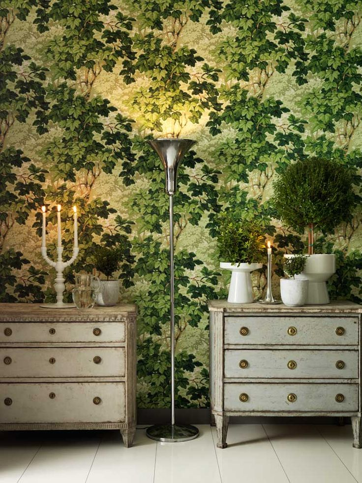'Richmond Park' wallpaper by Zoffany A beautiful leaf design in a thick hand painted effect in natural colours. showing in shades of green. Other colour ways available. Paste-the-wall product. Code  310061 Width 0.52m Roll length 10.05m Pattern repeat 0.61m £54 per roll from wallpapersdirect.co.uk