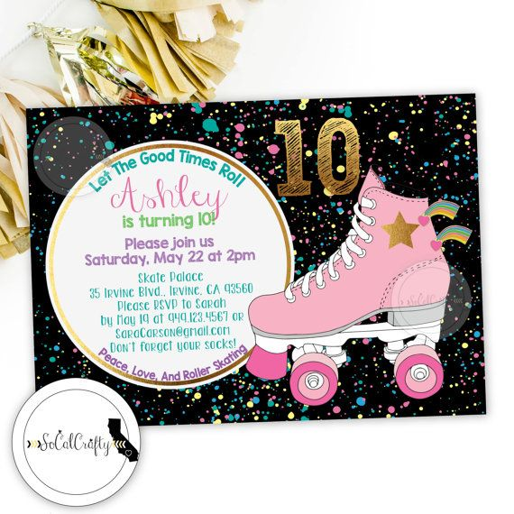 best 25+ roller skate party ideas on pinterest | roller skating, Party invitations