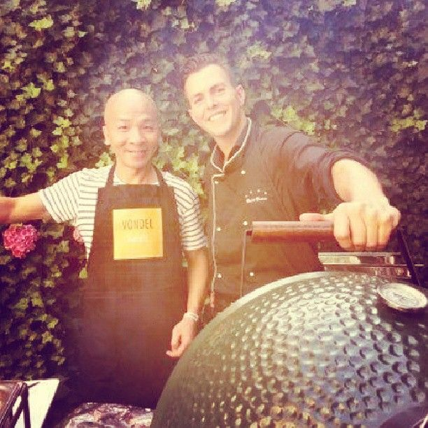 Staff #bbq we had a blast on the left our chef #zhou on the right #daan our fb manager! It was #delicious #vondelhotels #amsterdam #hotelvondel #hotelroemer #hoteljlno76